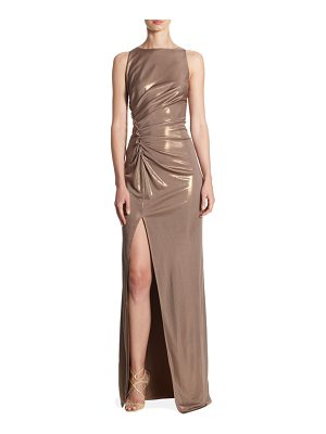 HALSTON Front Slit Sleeveless Gown