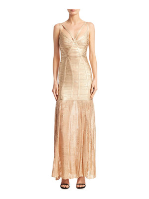 HERVE LEGER Metallic Evening Gown