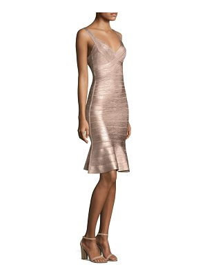 HERVE LEGER Metallic Knit Cocktail Dress