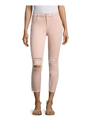 J Brand alana photoready distressed frayed hem cropped skinny jeans/pink mercy