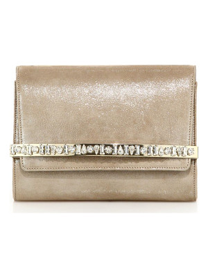 Jimmy Choo bow crystal-embellished shimmer suede clutch