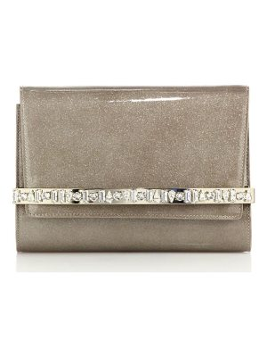 Jimmy Choo bow glittered & embellished patent leather clutch