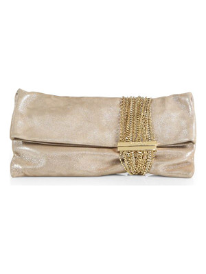 Jimmy Choo chandra shimmer suede chain clutch