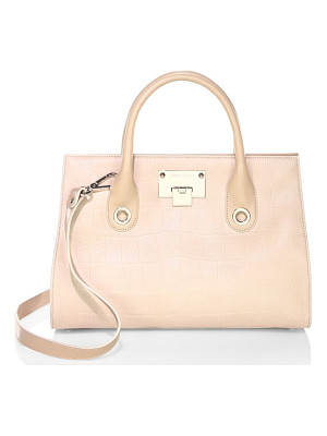 JIMMY CHOO Embossed Leather Top Handle Bag