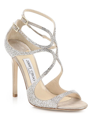 Jimmy Choo lang memento 100 strappy crystal & suede sandals