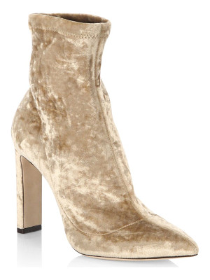 JIMMY CHOO Louella 85 Crushed Stretch Velvet Point Toe Booties