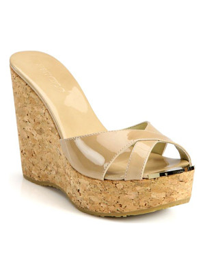 Jimmy Choo perfume 120 patent leather and cork wedge sandals
