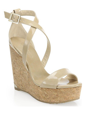 JIMMY CHOO Portia 120 Patent Leather & Cork Platform Wedge Sandals