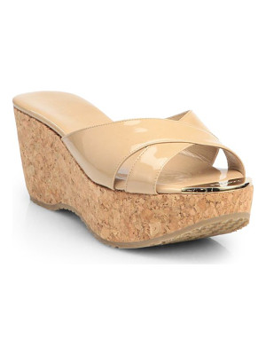 Jimmy Choo prima patent leather cork wedge sandals