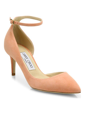 JIMMY CHOO Lucy 65 Suede D'Orsay Ankle-Strap Pumps