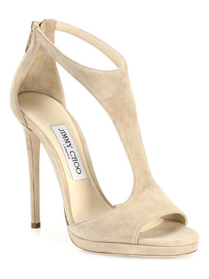 JIMMY CHOO Lana 100 Suede T-Strap Sandals
