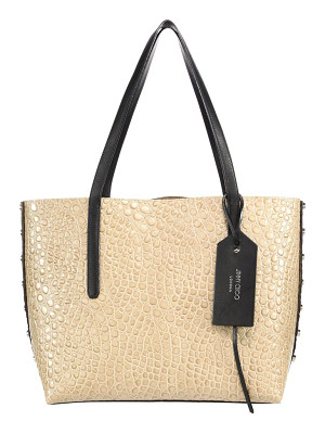 Jimmy Choo twist east/west croc-embossed & leather tote