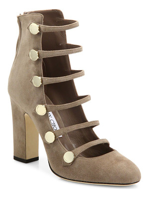 JIMMY CHOO Venice 100 Strappy Suede Block Heel Booties