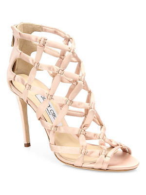 JIMMY CHOO Violet 100 Suede & Satin Lattice Sandals