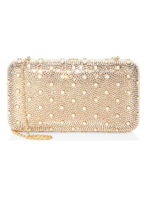 Judith Leiber smooth rectangle studded crystal clutch