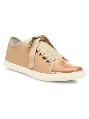 LANVIN Patent Cap Toe Leather Low-Top Sneakers