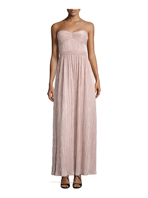 LAUNDRY BY SHELLI SEGAL Metallic Pleated Halter Gown