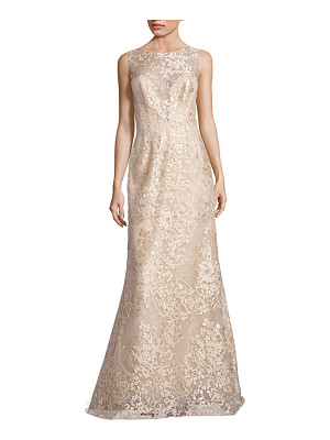 Liancarlo embroidered sleeveless bateau gown