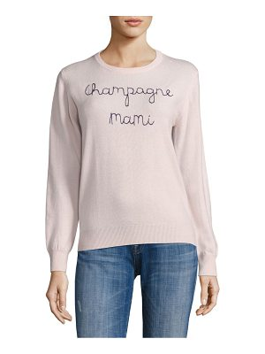 LINGUA FRANCA Champagne Mami Embroidered Cashmere Sweater