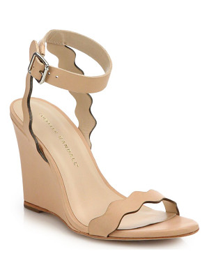 LOEFFLER RANDALL Piper Scallop Leather Wedge Sandals