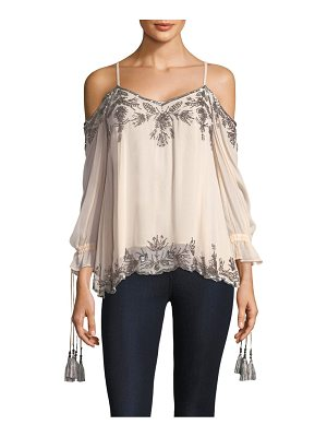 LOVE SAM Embellished Cold-Shoulder Blouse