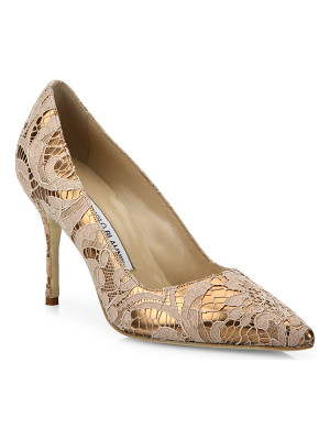 MANOLO BLAHNIK Bb 90 Lame Lace Pumps