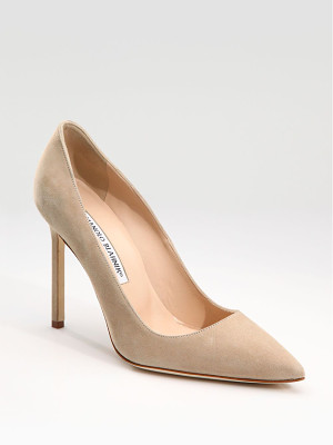 MANOLO BLAHNIK Bb 105 Suede Point-Toe Pumps
