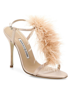 Manolo Blahnik eila feather-trimmed satin t-strap sandals