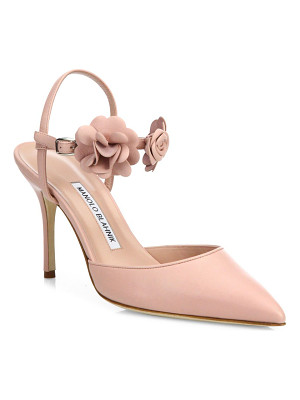 Manolo Blahnik volvonapla flower leather ankle-strap pumps
