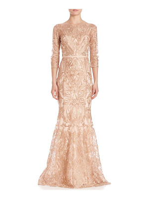 NOTTE BY MARCHESA Embroidered Overlay Gown