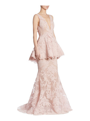 Marchesa peplum lace gown