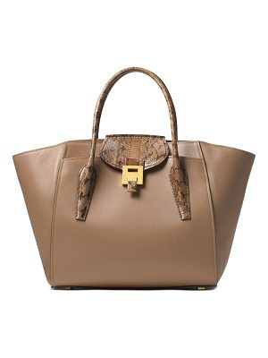 MICHAEL KORS COLLECTION Textured Handles Leather Satchel
