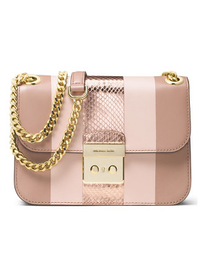 MICHAEL MICHAEL KORS Sloan Editor Medium Striped Leather & Metallic Snakeskin Chain Shoulder Bag