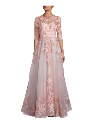 Mikael D blush floral embroidered tulle gown