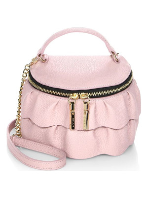 Milly astor ruffle zip-top leather crossbody bag