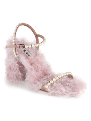 MIU MIU Embellished Eco Shearling Ankle-Strap Sandals