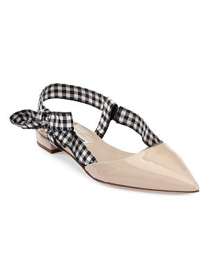 MIU MIU Gingham Leather Slingback Flats