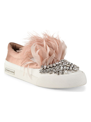 Miu Miu jeweled feather & satin skate sneakers