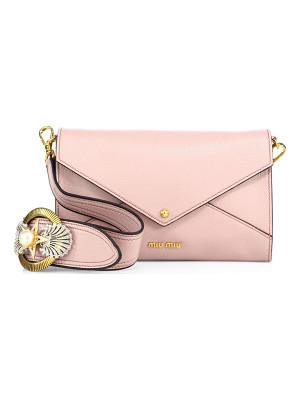 MIU MIU Madras Leather Envelope Crystal-Buckle Shoulder Bag