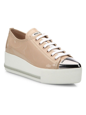MIU MIU Patent Leather Platform Cap-Toe Sneakers