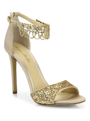 MONIQUE LHUILLIER Evelyn Jeweled Suede & Glitter Sandals