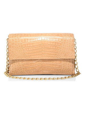 NANCY GONZALEZ Double Chain Crocodile Leather Shoulder Bag