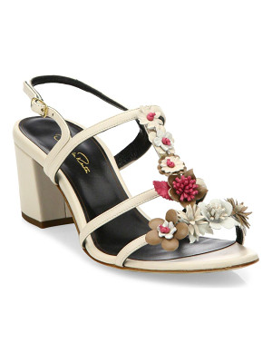 Oscar de la Renta flower embellished lambskin leather sandals