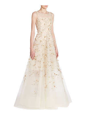 Oscar de la Renta sleeveless illusion gown