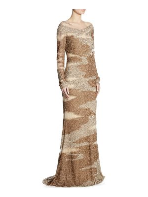 Pamella Roland brushstroke sequin-embroidered gown