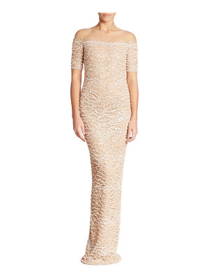 Pamella Roland embellished lace gown