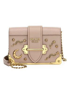 Prada cahier studded saffiano & leather shoulder bag