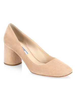 PRADA Suede Block Heel Pumps