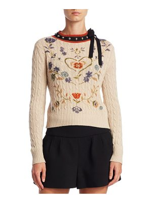 RED VALENTINO Heart Print Cable-Knit Sweater