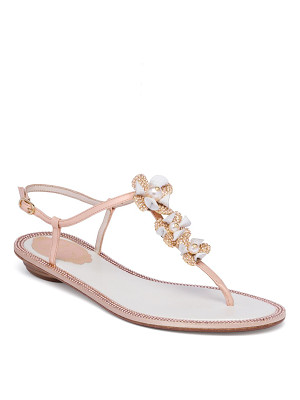 RENE CAOVILLA Embellished Leather & Snakeskin T-Strap Sandals